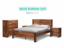 Phillipe Solid Acacia Oak Timber Queen Size Bed - With Package Option