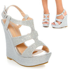Silver Rhinestone Platform Wedge Heel Wedding Bridal Prom Evening Sandal Shoe US