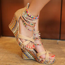 Ladies Funny Chunky Platform Checker Pearl Sandals Block High Wedge Heels
