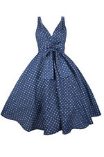 KUSHI VINTAGE 1940's 50's STYLE SWING DAY PARTY DRESS COTTON - POLKA DOT NAVY
