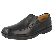 Mens Clarks Black Leather Slip On Formal Shoes H Fitting SCOPIC STEP