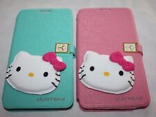 for SAMSUNG GALAXY NOTE 4 HELLO KITTY MIRROR LEATHER WALLET HARD CARD CASE STAND