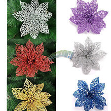 "Christmas Xmas Tree Decoration - 6"" Christmas Flowers Glitter Hollow Party Decor"
