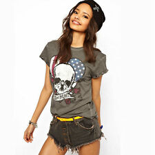 Women's Open Back Sexy Tees O Neck T Shirts With Skull Eagle Flag Print 2 Style