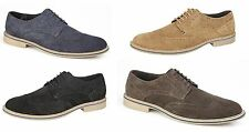 Mens Real Suede Leather Smart Casual Office Oxford Brogue Lace Up Desert Shoes