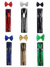 New Sequin Suspender and Bow tie Combo Unisex Adjustable Set