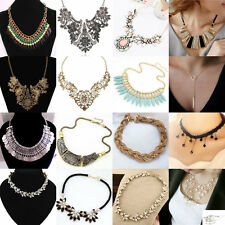 New Chain Pendant Crystal Choker Chunky Statement Bib Necklace Party Gift