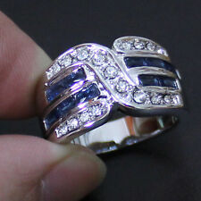 Size 9,10,11 Jewelry Mens Sapphire 10KT White Gold Filled Cocktail Band Ring
