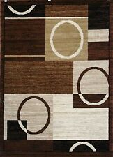 New City Brand New Contemporary Brown and Beige Modern Squares Circles Area Rugs