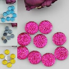 50Pcs Resin Round Flatback 12mm Scrapbooking For Phone/Wedding/Craft #12 Colors
