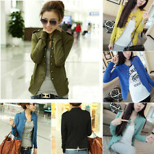 Women Military Epaulet Stand Collar Double Breasted Coat Jacket Suits Outerwear