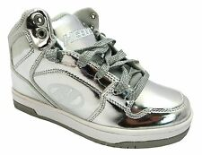 Heelys Flash Chrome Girl's Metallic Lace Up One Wheel Hi Top Ankle Boots New