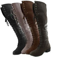 Women Military Combat Boots Lace Up Thigh High Flat Heel Comfy Rider Slouch Shoe