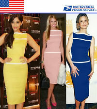 Boat Neck Women Wear To Work Formal Party Wiggle Pencil Dress US Local Shipment