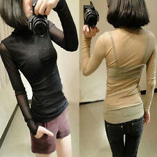 Womens Fashion Sexy Slim Sheer Back Turtle Neck Bottoming Shirt Blouse Tops