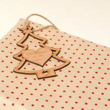Personalised Rustic Wooden Christmas Tree Gift Tags. Vintage Beech Decorations.