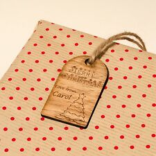 Rustic Wooden Christmas Gift Tag Individually Engraved WithPersonalised Message