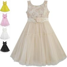 Girls Dress Shinning Sequins Beige Tulle Layers Wedding Pageant Kids Size 2-10