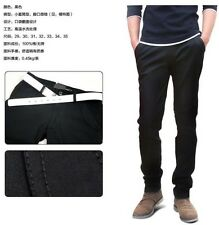 Hot Men's Boy's Slim Fit Casual Style Straight Pants Trousers Black CLEAR STOCK!