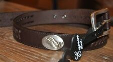 Mack's Prairie Wings Feather Concho LEATHER BELT Youth Kids Sizes Brown Braided