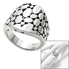 925 Sterling Silver Intricate Cobblestone Design Ring Size 5-9