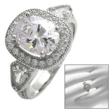 925 Sterling Silver 1.75 Carat Oval Solitaire CZ w/CZ Accents Ring Size 6-11