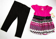 **Healthtex girls bubble set dress w/bow & leggings 12M Pink/Black