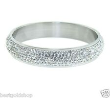 QVC Pave Crystal Round Band Style Bangle Bracelet Stainless Steel by Design