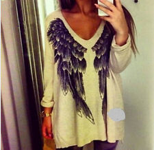 Feathers Print Women Sweater Sexy V Neck Women Sweater Autumn Angel Wing Print