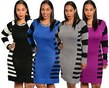 NEW WOMENS LONG SLEEVE WARM WINTER KNIT SLIM PLUS SIZE TUNIC SWEATER DRESS XL-3X