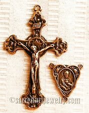 Star Halo Crucifix & Center Rosary Parts Set - Sterling Silver or Bronze 608-694
