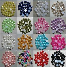 100pcs Flat Half Pearl Round Bead 8mm DIY for Nail Art Phone Decoration Beauty