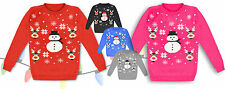 Kids New Boy Girls Christmas Xmas 3D Novelty Rudolf Fairisle Snowman Jumper 3-12