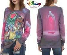 Disney Beauty and The Beast Stained Glass Rose Crew Pull Over Top Size S - XL