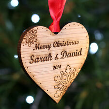 Personalised Wooden Merry Christmas Tree Decoration Small Heart Bauble Gift