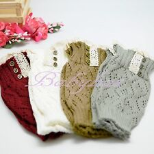 Leg Warmers Boot Socks Girls Rhinestones Crochet Knit Toppers Knee Long Legging