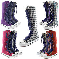 Woman Canvas Mid Calf Tall Boots Casual Sneaker Punk Flat Navy Blue Shoelace