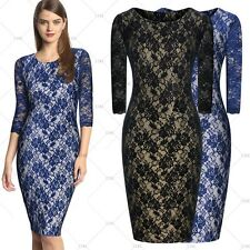 Women's Formal Lace Vintage Cocktail Evening Party Bodycon Dresses Size 4681024