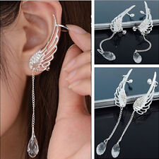 Fashion Elegant Angel Wing Crystal Earrings Drop Dangle Ear Stud Cool Cuff Clip