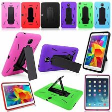 Hybrid Heavy Duty Kickstand Case Cover For Apple iPad & Samsung Tablet Models