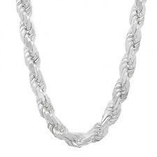 Men's 7 mm Thick .925 Solid Sterling Silver Diamond Cut French Rope Neck Chain