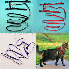 Nylon Pet Cat Kitten Adjustable Harness Lead Leash Collar Belt Safety Rope M