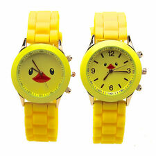 Cute Yellow Duck Kids Jelly Wrist Watch Women Girls Kids SILICONE Quartz Watch