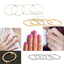 5/10 PCS ABOVE KNUCKLE RING BAND MIDI FINGER STACK PLAIN RINGS SET GOLD/SILVER