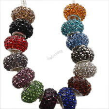 New Mixed Rhinestones Stylish Oblate Resin Beads Fit European Bracelet 15x10mm