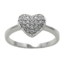 925 Sterling Silver 0.29 Carat Micro Paved CZ Heart Ring Size 5-9
