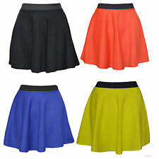 New Womens Ladies Dotted Skater Flared Jersey Plain Mini Party Dress Skirt 8-14