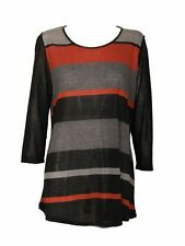 *NEW* EX MARINA KANEVA GREY / BLACK / ORANGE STRIPE TUNIC TOP PLUS SIZES 16 - 32