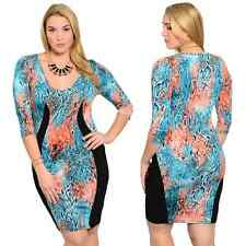 WOMEN LADIES SEXY AQUA & CORAL BODY CON DRESS PARTY CLUB WEAR PLUS SIZE 1X 2X 3X