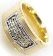 Polished Satin Yellow IP Plated Cable Men's Stainless Steel 10mm Wide Band Ring